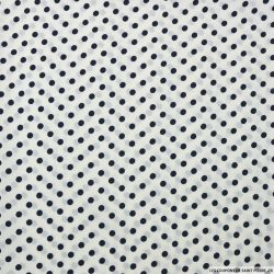 Crêpe imprimé pois marine fond blanc