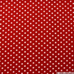 Crêpe imprimé pois blanc fond rouge