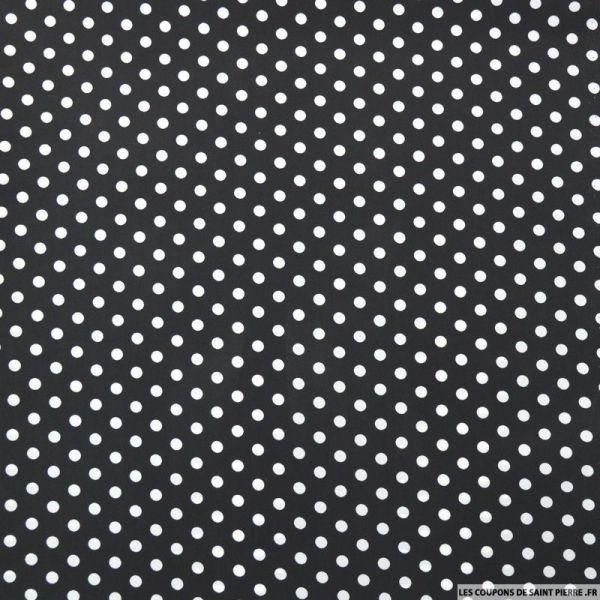 Crêpe imprimé pois blanc fond noir