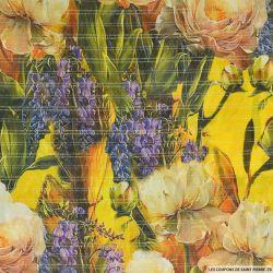 Mousseline de Soie imprimée fleurs mélancolique ocre rayures or