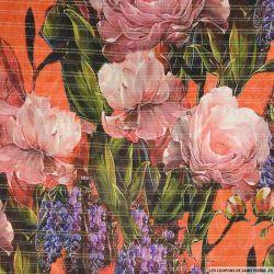 Mousseline de Soie imprimée fleurs mélancolique orange rayures or