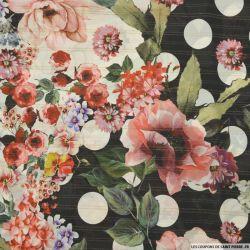 Mousseline de Soie imprimée roses fond noir rayures or