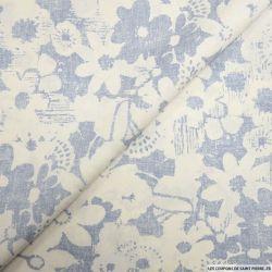 Lin mélangé imprimé fleurs blanc et bleu
