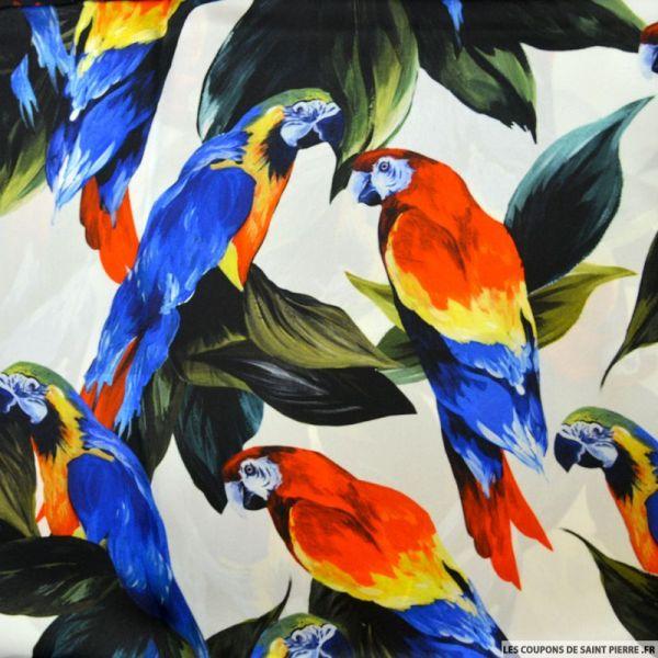 Satin de soie imprimé perroquet