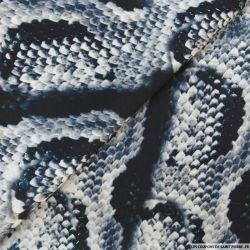 Satin de soie imprimé serpent bleu