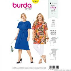 Patron Burda 6305 - Robe plis à l'encolure