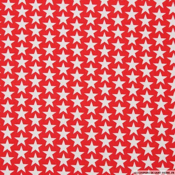 Coton imprimé étoiles fond framboise