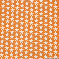 Coton imprimé étoiles fond orange