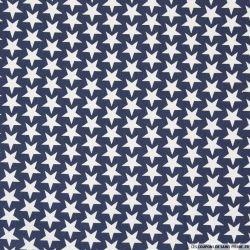 Coton imprimé étoiles fond marine