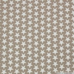 Coton imprimé étoiles fond grège