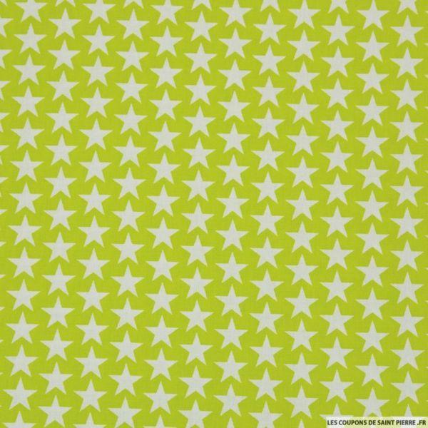 Coton imprimé étoiles fond vert anis