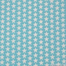 Coton imprimé étoiles fond bleu ciel