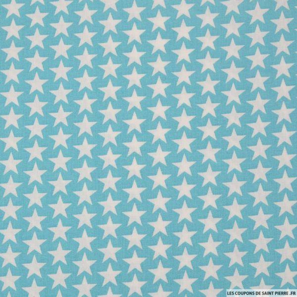 Tissu Coton Imprimé étoiles Fond Bleu Ciel