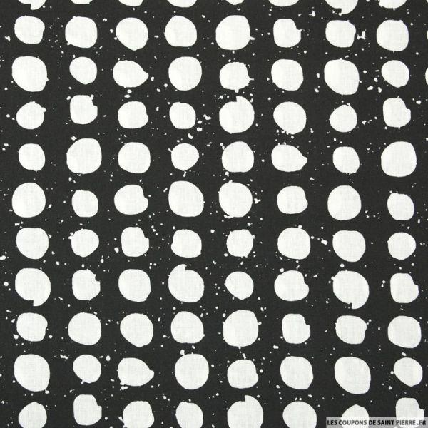 Coton imprimé tâches fond noir