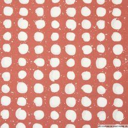 Coton imprimé tâches fond marsala