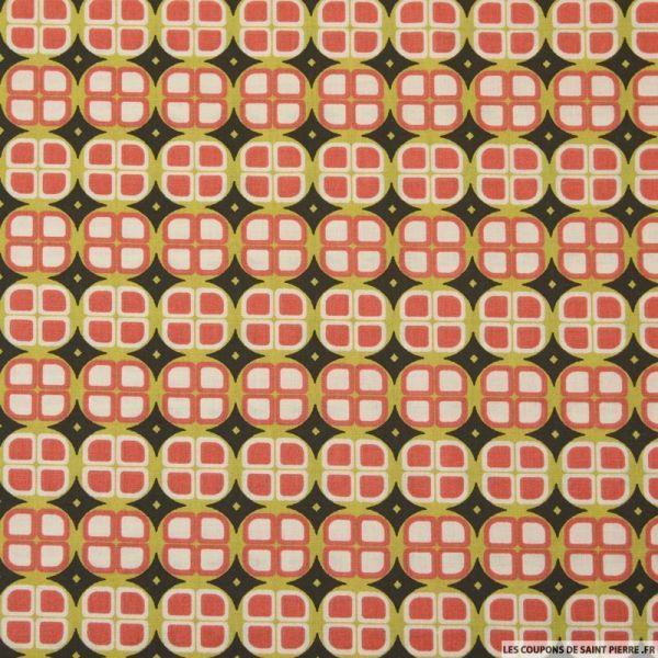 Coton imprimé rond retro africain fond noir et vert