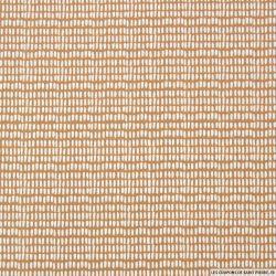 Coton imprimé petits traits fond beige
