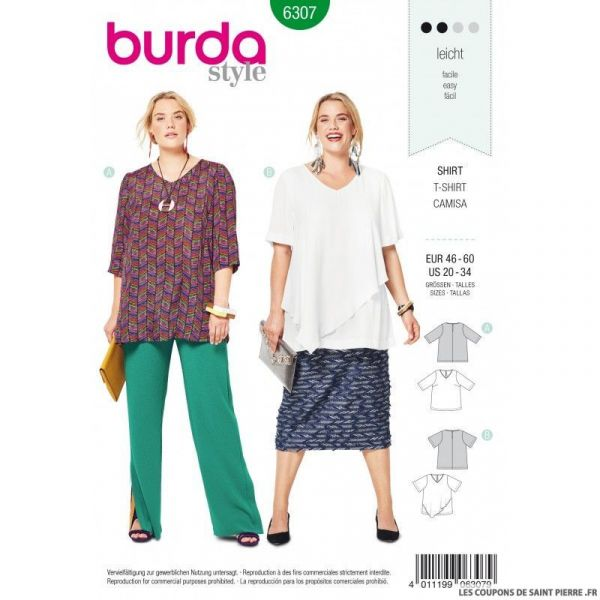 Patron Burda 6306 - Blouse