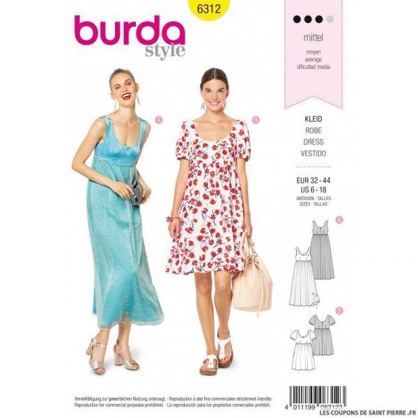 Patron Burda 6312 - Robe empire