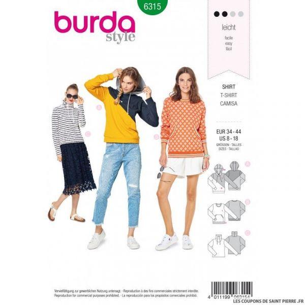 Patron Burda 6314 - Tee-Shirt 3 variantes