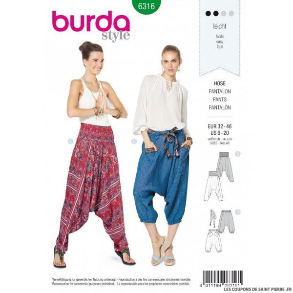 Patron Burda 6316 - Pantalon Sarouel