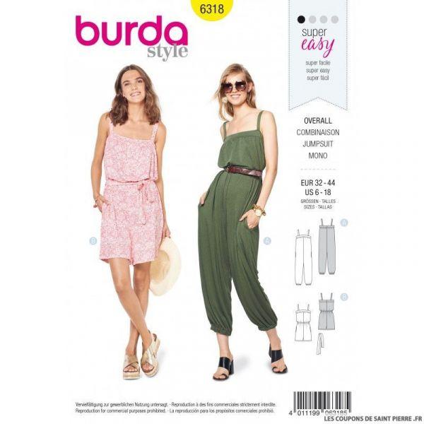 Patron Burda 6318 - Combinaison avec bretelle