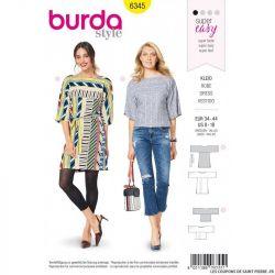 Patron Burda 6345 - Robe à manches amples