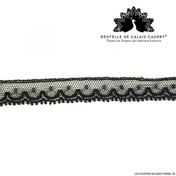 Ruban de Dentelle de calais® noir fine festons au mètre