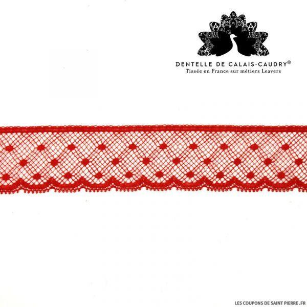 Ruban de Dentelle de calais® rouge plumetis festons au mètre