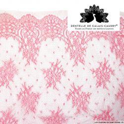 Dentelle de calais® rose fleurs et plumetis au mètre