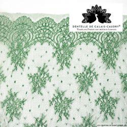 Dentelle de calais® vert gazon fleurs et plumetis au mètre