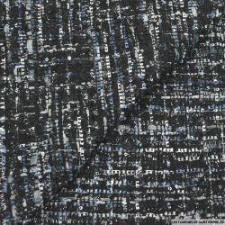 Tweed polyviscose fantaisie noir et gris