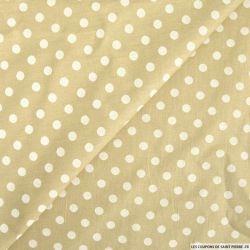 Coton imprimé pois 8mm beige