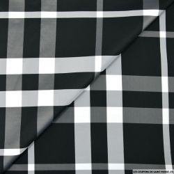 Taffetas polyester carreaux noir et blanc