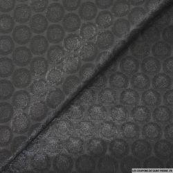 Jacquard de polyester irisé cercles noir