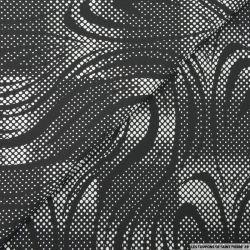 Jacquard polycoton pois graphique noir et blanc