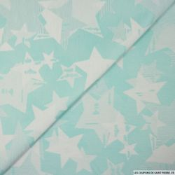 Jacquard de polycoton étoiles menthe à l'eau
