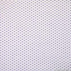 Jacquard de polycoton fantaisie marine fond blanc