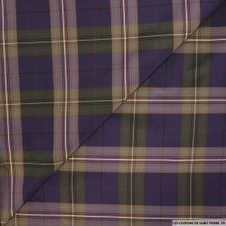 Taffetas polyester carreaux violet et kaki