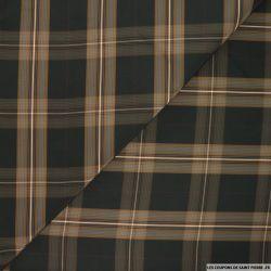 Taffetas polyester carreaux camel et noir