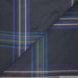 Taffetas polyester carreaux marine et kaki