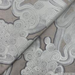 Jacquard polyviscose fantaisie arabesque acier