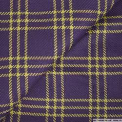Laine coton à carreaux violet