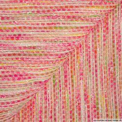 Tweed polycoton rose et argent