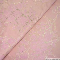 Jacquard polycoton et viscose fleurs rose et doré