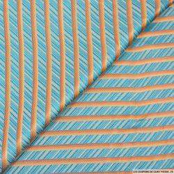 Jacquard polyester rayures bleu turquoise et ocre