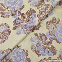 Jacquard polyester dahlia violet fond beige