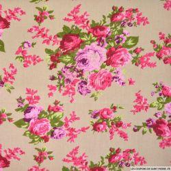 Lin viscose imprimé bouquets de fleurs roses fond ficelle