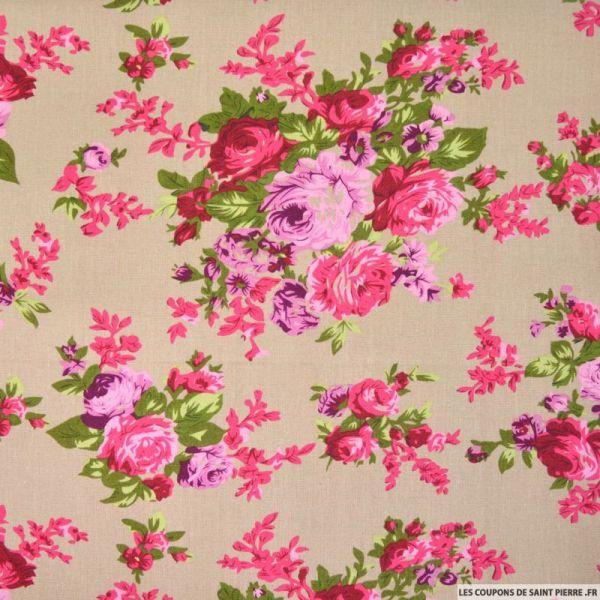 Lin viscose bouquets de fleurs fond ficelle