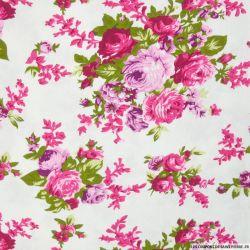 Lin viscose imprimé bouquets de fleurs fond blanc